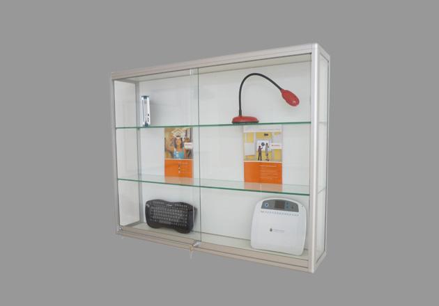 Ausstellungsvitrine Stahlrahmen-Stahlemaile weiß